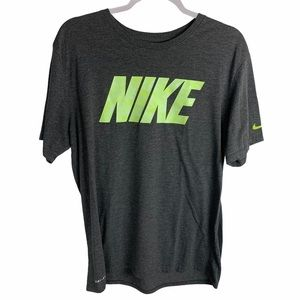 Nike tee Graphic Spellout Dri-Fit Large gray green